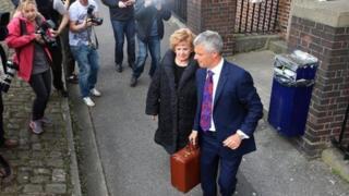 Barbara Knox leaving court with Nick Freeman