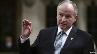"Canada""s Defence Minister Rob Nicholson speaks during Question Period in the House of Commons on Parliament Hill in Ottawa 3 March 2014"