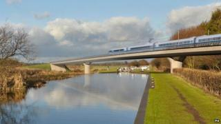 "Artist""s impression of an HS2 train on the Birmingham and Fazeley viaduct"