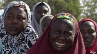 Mothers of kidnapped school girls in Borno state, Nigeria on 22 April 2014