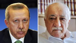 Recep Tayyip Erdogan (left) and Fethullah Gulen (right)