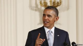 President Barack Obama speaks at the White House on 14 April, 2014.