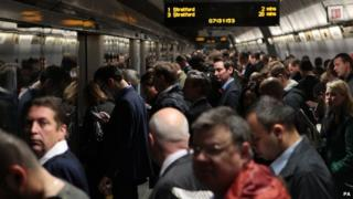 Passengers at Waterloo Station
