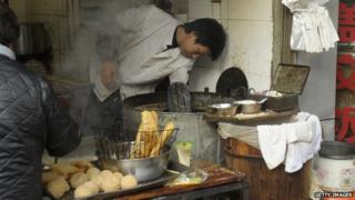 A Chinese street food vendor