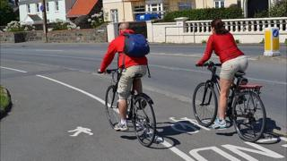 Cyclists on a Guernsey cycle path