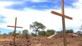 A mass grave pictured in Bor, South Sudan