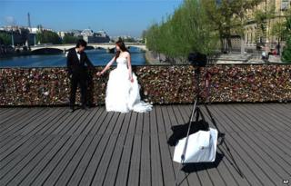 A married couple on the Pont des Arts on 9 April