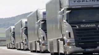 Scania lorry convoy