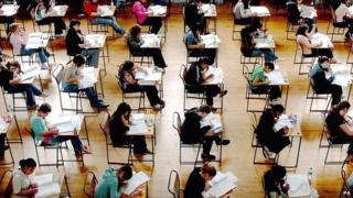 Schoolchildren sitting an exam
