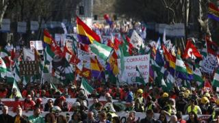 Protest, Madrid, Spain, Saturday, March 22, 2014