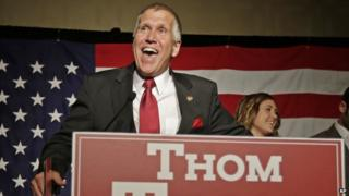 Thom Tillis smiles during after his North Carolina Senate primary victory on 6 May, 2014.