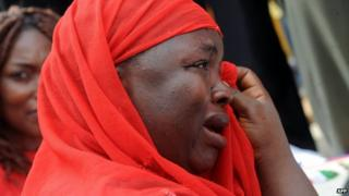 Mother of abducted schoolgirl at rally in Abuja. 6 May 2014