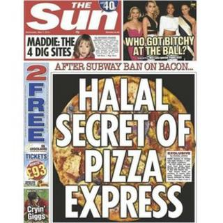 "The front cover of The Sun newspaper on 7 May 2015 with the headline ""Halal Secret of Pizza Express"""
