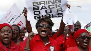 Women attend a demonstration calling on government to rescue kidnapped school girls of a government secondary school Chibok, in Lagos, Nigeria, on 5 May 2014