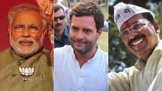 From left to right, Narendra Modi, Rahul Gandhi and Arvind Kejriwal are leading their respective parties' campaign in the 2014 general elections