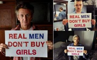 "A composite image showing Sean Penn, Justin Timberlake and Ashton Kutcher, holding signs which say ""Real Men Don't Buy Girls"""