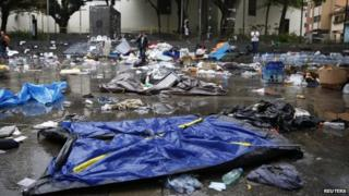 Remains of a protesters' camp site dismantled by Venezuela's national guard in Caracas on 8 May, 2014