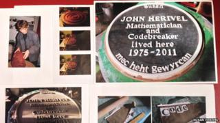 The commemorative plaque for John Herivel made by his daughter Susan
