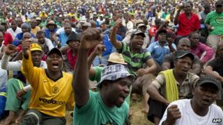 South Africa's platinum mine workers stage a protest (January)