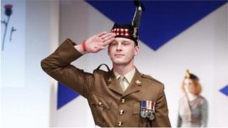Pte Mark Connolly on the catwalk at New York Tartan Week in 2010