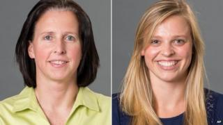 This combination made with photos provided by the University of Richmond shows associate head coach Ginny Doyle, left, and director of basketball operations Natalie Lewis
