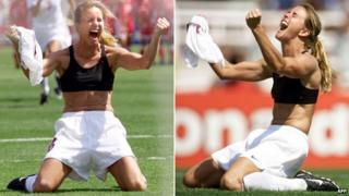 Brandi Chastain kneeling with her bra exposed