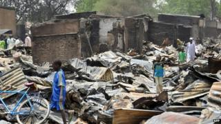 The ruins of Gamboru Ngala's market, Nigeria