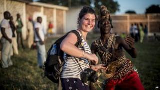 Camille Lepage at Bonga Bonga stadium in Bangui