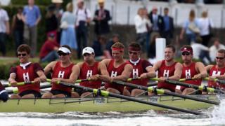 Harvard crew compete in a regatta in 2008.