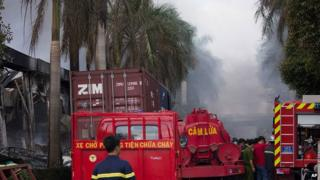 Protesters set several foreign factories on fire in southern Vietnam on Tuesday