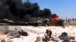 Screengrab of video purportedly showing aftermath of car bomb explosion at the Bab al-Salam crossing between Syria and Turkey (15 May 2014)