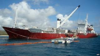 Picture taken on May 13, 2014 showing an Ecuadoran freighter which ran aground on May 9, 2014, in the Galapagos islands.