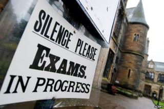"Board outside Glasgow University reads: ""Silence please, exams in progress"""