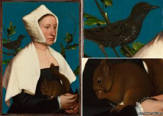 A Lady with a Squirrel and a Starling by Hans Holbein (detail)
