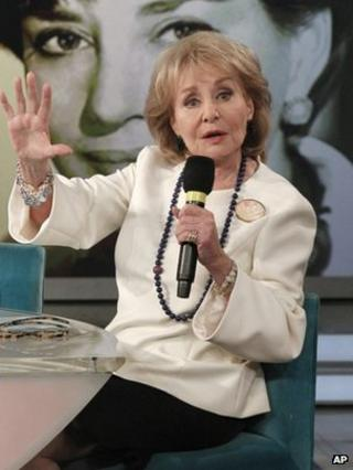 "This image released by ABC shows Barbara Walters speaking during a taping of her final co-host appearance on ""The View,"" 15 May 2014"