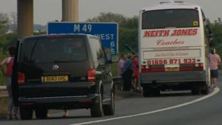 M49 accident boy falls out of coach