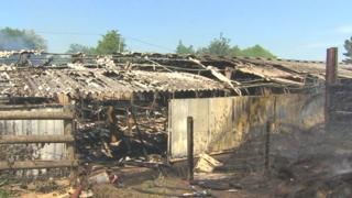 Fire damaged farm buildings at Penallt, Monmouthshire