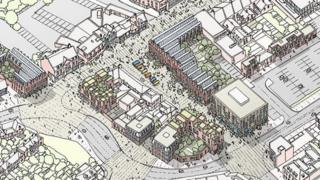 Artist's impression of Egham town centre