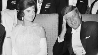 President John F. Kennedy and first lady Jacqueline Kennedy as they attend one of five inaugural balls in Washington
