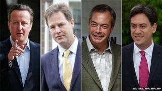David Cameron, Nick Clegg, Nigel Farage, and Ed Miliband