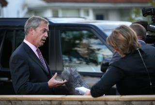 Nigel Farage being interviewed about election results, May 23