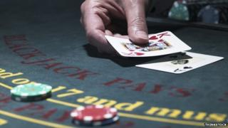 Cards on a blackjack table
