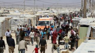Syrian refugees at Jordan's Al Zaatri camp