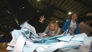 Ballot boxes being opened in Dublin