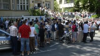 Ukrainians queuing outside their embassy in Prague ready to vote in their presidential election, 25 May 2014
