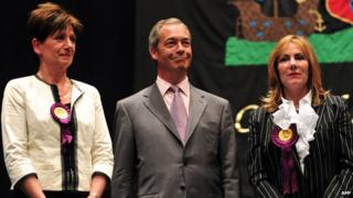 Diane James, Nigel Farage and Janice Atkinson