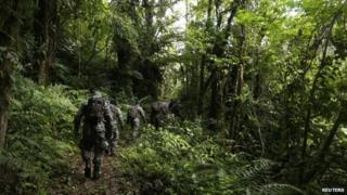 Border police search a hiking trail near Boquete on 12 April 2014