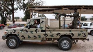 Armed men loyal to General Khalifa Haftar in Benghazi - 19 May 2014