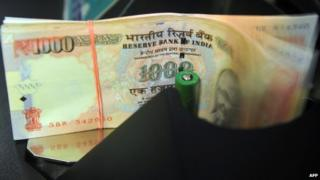 India notes being counted