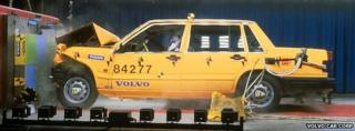 A promotional photograph showing the safety of a Volvo